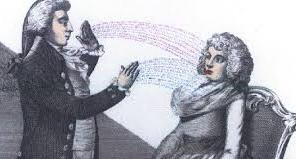 Histoire du magnétisme humain : magnétiseur en soin sur une patiente.